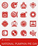 Sistema nacional del icono del día del pastel de calabaza del vector Fotos de archivo