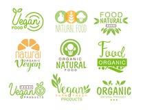 Sistema natural de la comida del vegano del café Logo Signs In Green, colores anaranjados de la plantilla que promueven forma de  Fotos de archivo libres de regalías