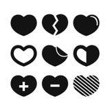 Sistema negro de la colección del ejemplo de los corazones ilustración del vector