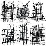 Sistema negro de la colección del fondo de la tinta de la salpicadura Espray dibujado mano B Fotos de archivo