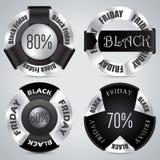 Sistema negro de la insignia de viernes de 4 Imágenes de archivo libres de regalías