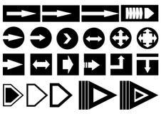 Sistema negro del ejemplo de los iconos de las flechas stock de ilustración
