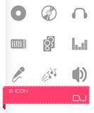 Sistema negro del icono de DJ del vector Imágenes de archivo libres de regalías