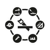 Sistema negro del icono de la carpintería del vector Foto de archivo libre de regalías