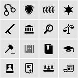 Sistema negro del icono de la justicia del vector Fotos de archivo libres de regalías
