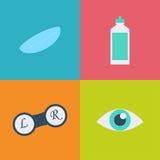 Sistema negro del icono de la optometría del vector El óptico, oftalmología, corrección de la visión, prueba del ojo, cuidado del libre illustration