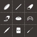 Sistema negro del icono de la panadería del vector Foto de archivo