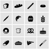 Sistema negro del icono de la panadería del vector Foto de archivo libre de regalías