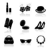 Sistema negro del icono de los accesorios de la mujer Imagen de archivo libre de regalías