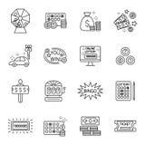 Sistema negro del icono de los juegos de la fortuna de la lotería y del beneficio aislado Imagen de archivo