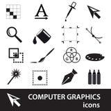 Sistema negro del icono de los símbolos de los gráficos de ordenador Imagen de archivo