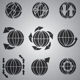 Sistema negro del icono del globo del vector Fotografía de archivo
