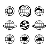 Sistema negro del icono del globo del vector Fotografía de archivo libre de regalías