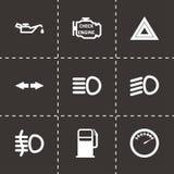 Sistema negro del icono del tablero de instrumentos del coche del vector Fotos de archivo libres de regalías