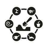 Sistema negro del icono del vector que cultiva un huerto Imagen de archivo libre de regalías