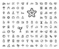 Sistema negro del icono del viaje de las vacaciones del vector Fotografía de archivo libre de regalías
