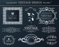 Sistema negro del ornamento de los marcos del vintage Decoración del elemento del vector Fotografía de archivo