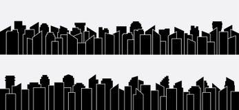 Sistema negro del panorama de la silueta de la ciudad Diseño del vector Fotos de archivo libres de regalías