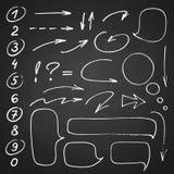 Sistema negro exhausto del marcador de la mano de números y de puntuación, junto con algunos garabatos: flechas, círculos y otros ilustración del vector