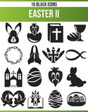 Sistema negro Pascua II del icono stock de ilustración
