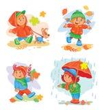 Sistema niños de los iconos del vector de pequeños Fotos de archivo libres de regalías
