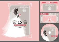 Sistema nupcial de la plantilla de la ducha Silueta de la novia, marco Imagen de archivo libre de regalías