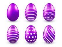 Sistema púrpura de los huevos de Pascua Días de fiesta de la primavera en abril Celebración estacional Caza del huevo domingo ilustración del vector