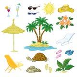 Sistema, palma, flores y objetos exóticos de la playa Foto de archivo