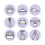 Sistema para la tienda del animal doméstico, símbolos, iconos Fotos de archivo