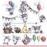 Sistema para las tarjetas de felicitación con los ratones lindos Ratón divertido de la historieta libre illustration