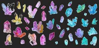 Sistema pintado a mano de la acuarela de cristales aislados en el fondo blanco stock de ilustración