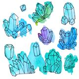 Sistema pintado a mano de la acuarela de cristales aislados en el fondo blanco ilustración del vector