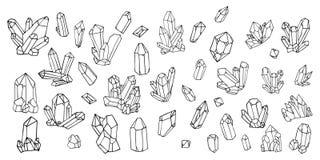 Sistema pintado a mano del garabato de la acuarela de cristales libre illustration