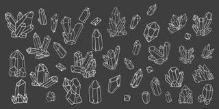 Sistema pintado a mano del garabato de la acuarela de cristales ilustración del vector