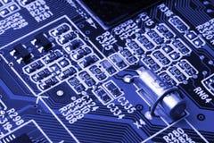 Sistema, placa madre, ordenador y fondo de la electrónica imágenes de archivo libres de regalías