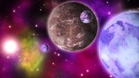 Sistema planetario de la ciencia ficción bucle stock de ilustración