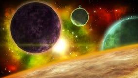 Sistema planetario de la fantasía Fondo del espacio de la ciencia ficción Animación colocada ilustración del vector