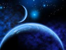 Sistema planetario extranjero, planeta similar a la tierra con una luna azul, en el fondo una nebulosa, estrellas brillantes, eje stock de ilustración