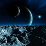Sistema planetario straniero, una luna con le montagne e le rocce, due pianeti con atmosfera, una stella luminosa e nebulosa, ill illustrazione vettoriale