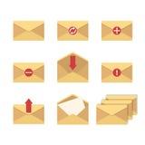 Sistema plano básico del icono de sobres Imagen de archivo