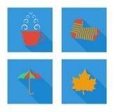 Sistema plano con la taza, calcetines, hoja, paraguas libre illustration