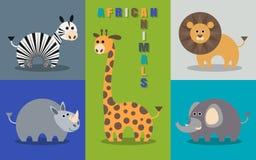 Sistema plano de animales africanos Fotos de archivo libres de regalías