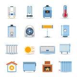 Sistema plano de calefacción del icono del color Imágenes de archivo libres de regalías