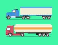 Sistema plano de camiones de los iconos Camiones pesados, camión de combustible, logística, l Fotos de archivo libres de regalías