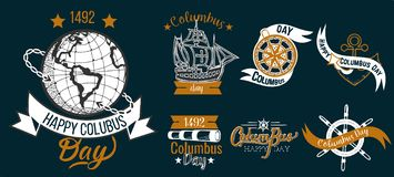 Sistema plano de Columbus Day de la muestra feliz del logotipo foto de archivo libre de regalías