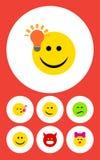 Sistema plano de contrapunto, guiñando, Joy And Other Vector Objects de Emoji del icono También incluye el beso, ceño fruncido, e Imagen de archivo