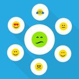 Sistema plano de Emoji del icono de amor, de ceño fruncido, de sonrisa y de otros objetos del vector También incluye mareado, hum stock de ilustración