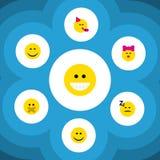 Sistema plano de Emoji del icono de Emoticon del tiempo del partido, de sonrisa, de caricia y de otros objetos del vector También ilustración del vector