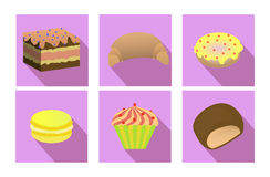 Sistema plano de hornada: magdalena, torta, macarrones, galletas, galleta, cruasán stock de ilustración