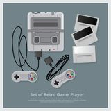 Sistema plano de jugador y de accesorios retros del juego Foto de archivo libre de regalías